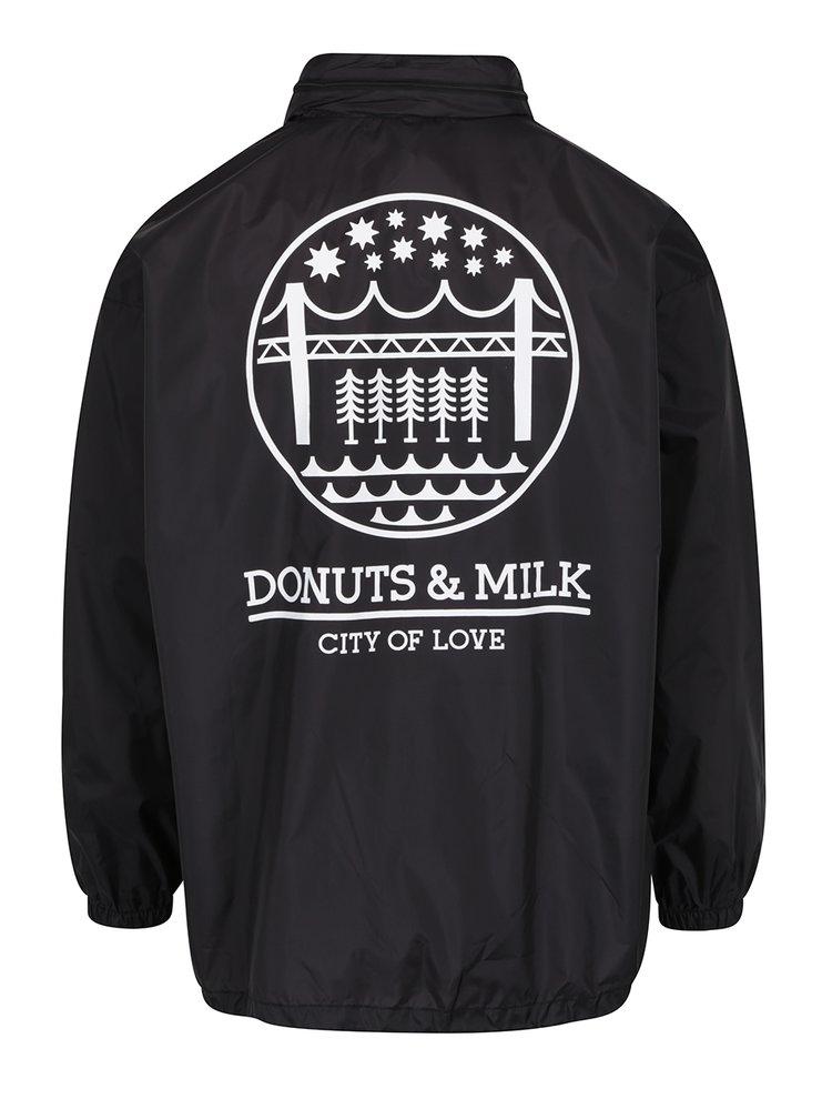 Černá unisex šusťáková bunda se skrytou kapucí Donuts & Milk