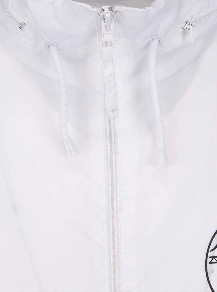 Bílá unisex šusťáková bunda se skrytou kapucí Donuts & Milk