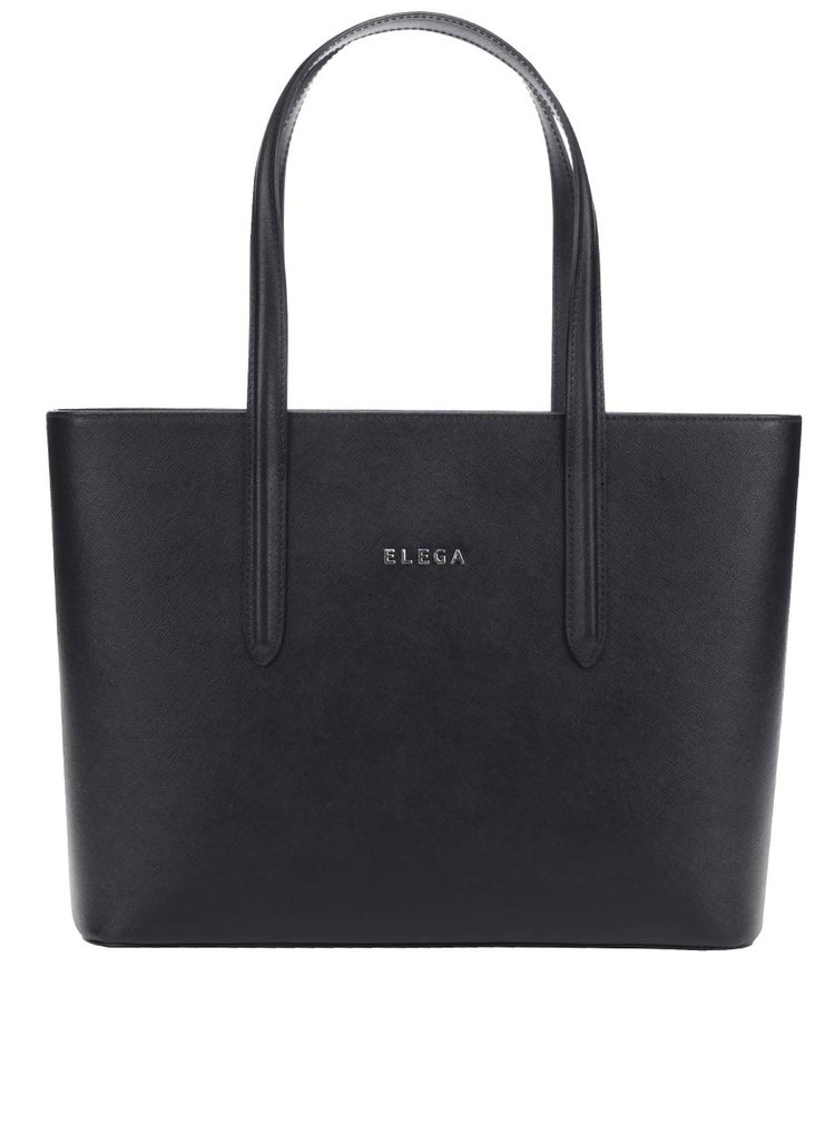 Geanta shopper neagra Elega Simione S din piele