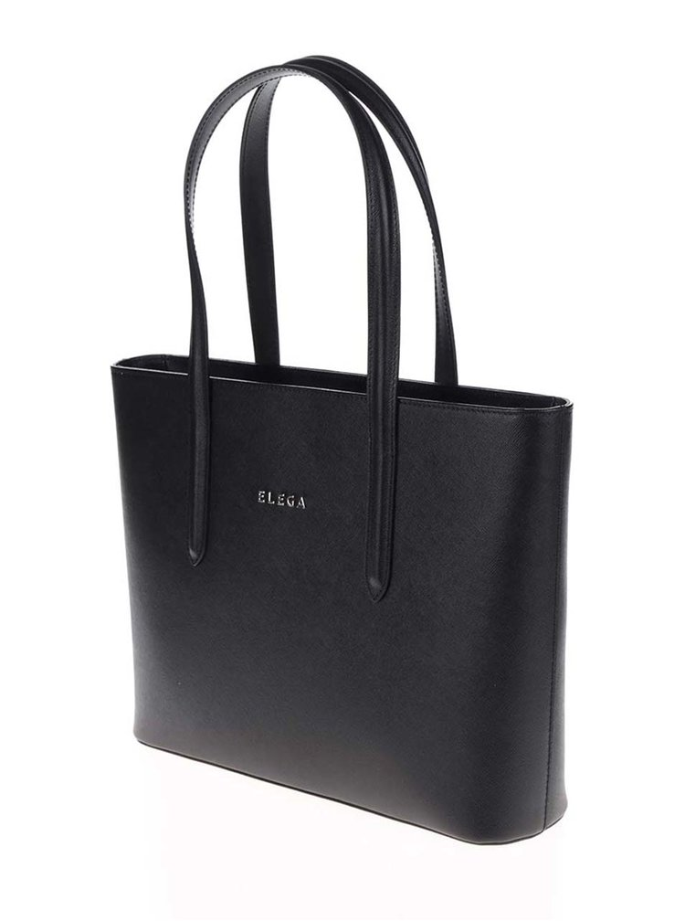 Černá kožená velká kabelka Elega Simone S