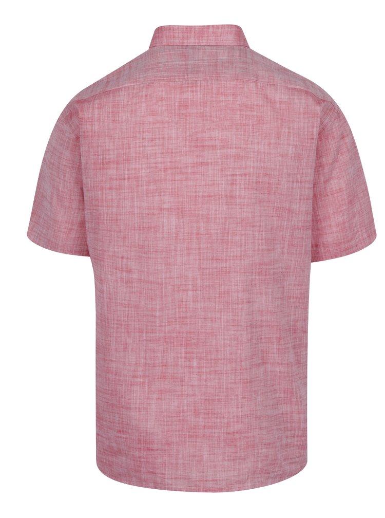 Camasa roz melanj Seven Seas din bumbac cu maneci scurte