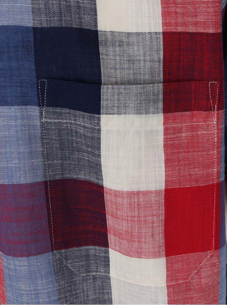 Camasa albastru & rosu Seven Seas din bumbac cu model in carouri si maneci scurte