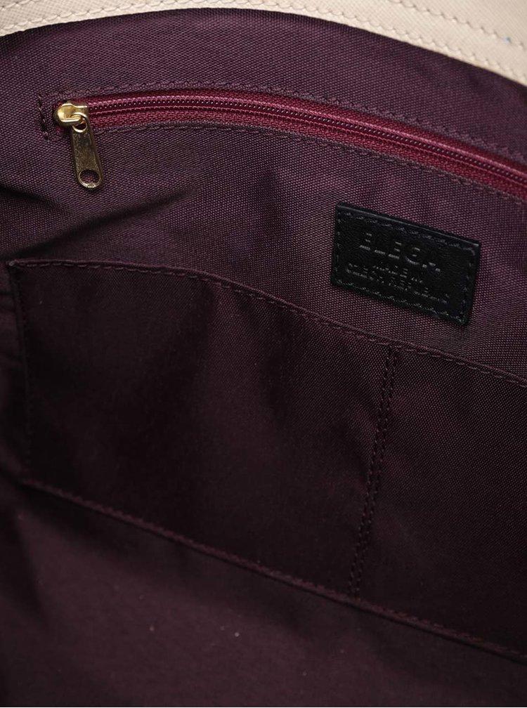 Čierno-béžová kožená kabelka Elega Debbie