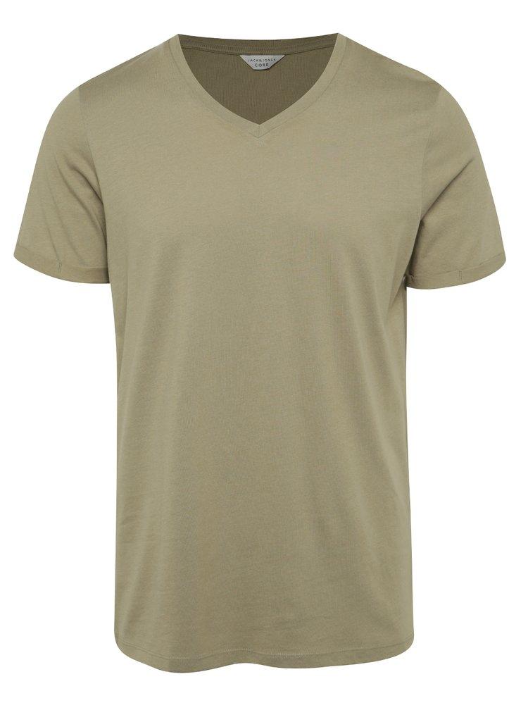 Khaki tričko s véčkovým výstřihem Jack & Jones Trancer