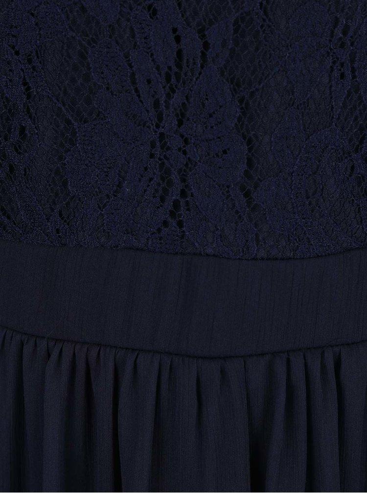 Tmavě modré šaty s krajkovým topem VERO MODA Anca
