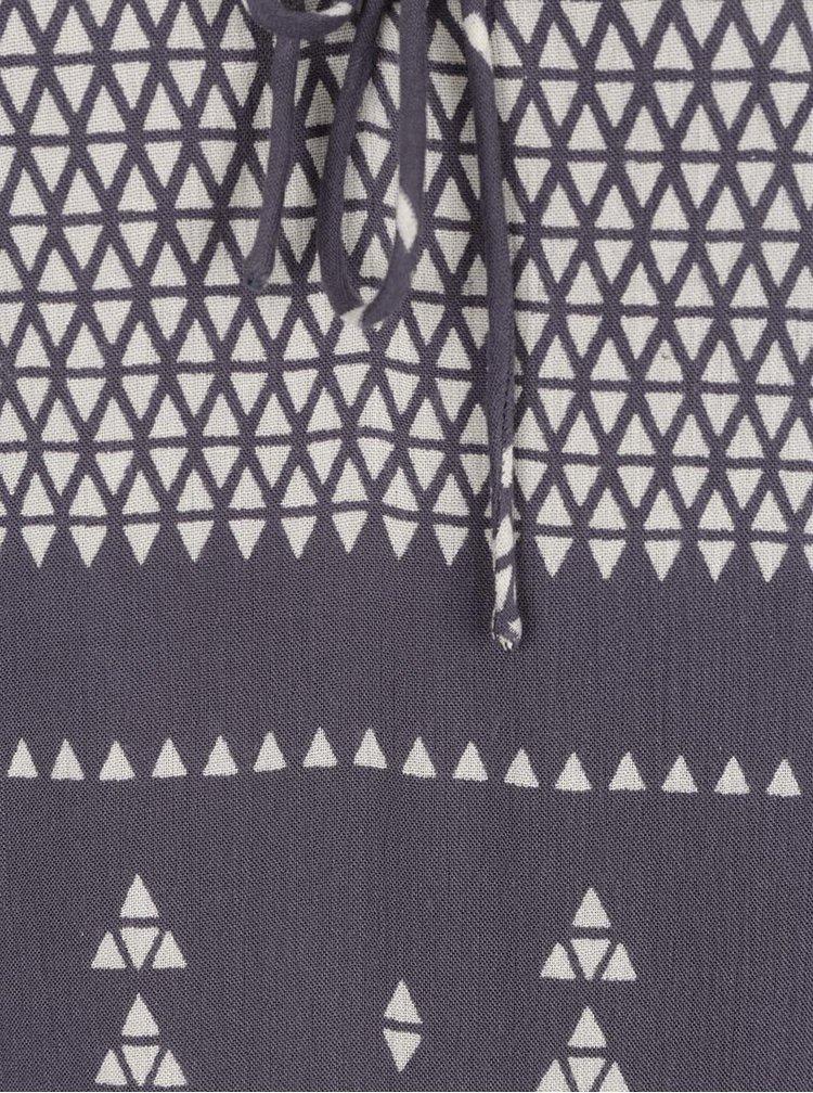 Šedé vzorované šaty se zavazováním v dekoltu VERO MODA Jamie