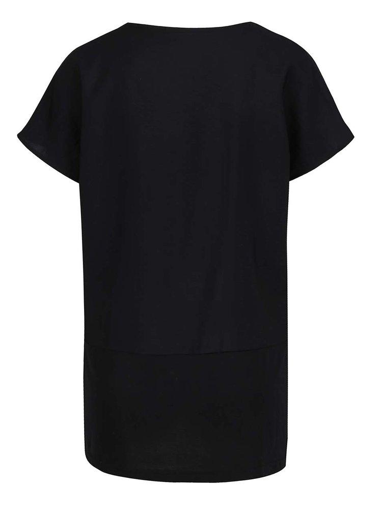 Tricou negru VERO MODA Satino cu slituri laterale