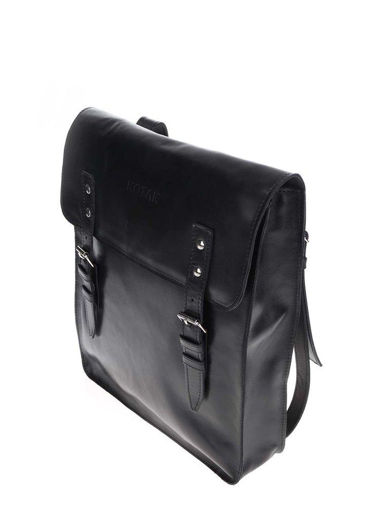 Černý kožený unisex batoh KOZAK
