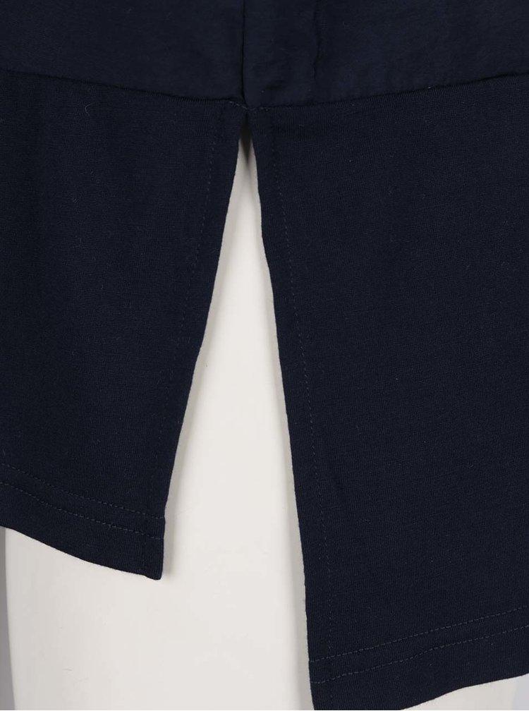 Tricou albastru inchis VERO MODA Satino cu slituri laterale