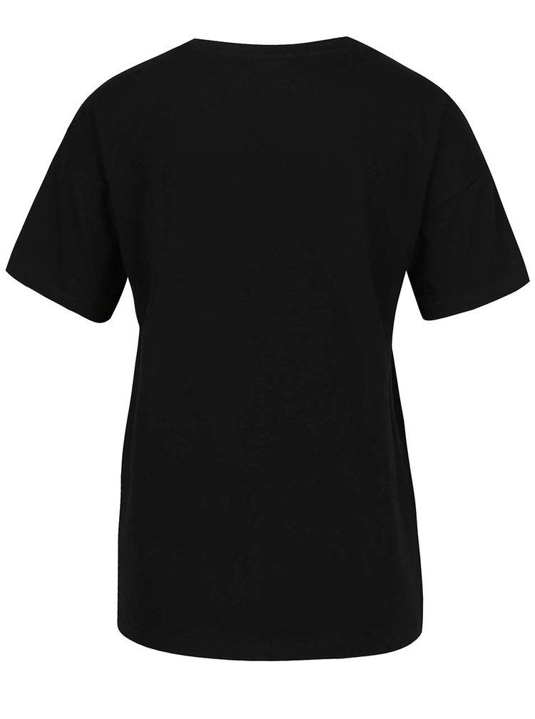 Černé tričko s potiskem Noisy May Alfred