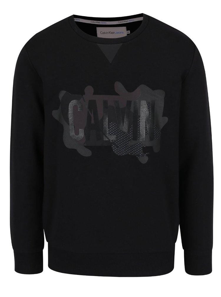 Černá pánská mikina s potiskem Calvin Klein Jeans Heams