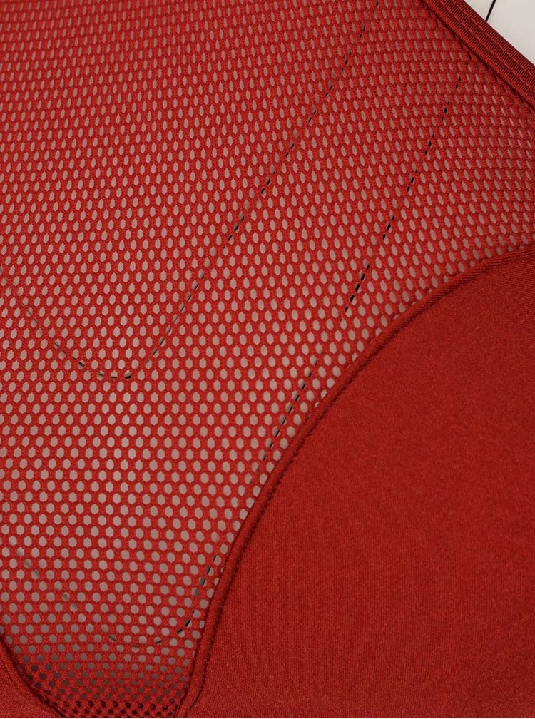 Costum de baie rosu bordeaux Relleciga cu insertie din plasa