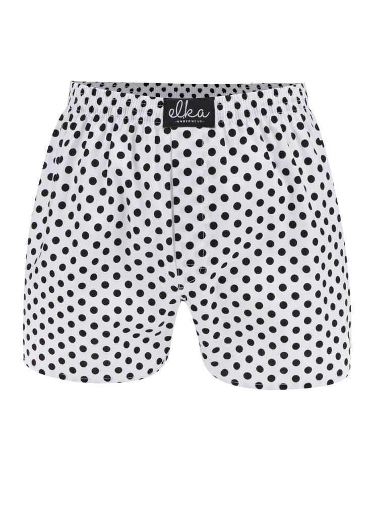 Boxeri albi cu buline El.Ka Underwear pentru bărbați