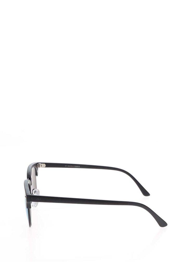 Černé brýle se zrcadlově modrými skly Jack & Jones Mirror