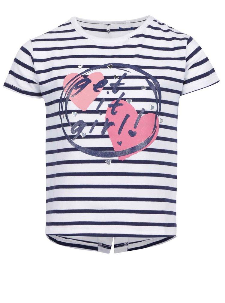 Modro-bílé holčičí pruhované tričko s potiskem 5.10.15.