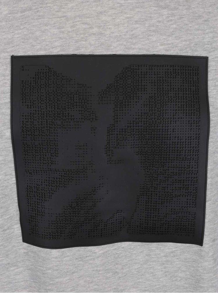 Bluza sport gri cu imprimeu din silicon - mcm89