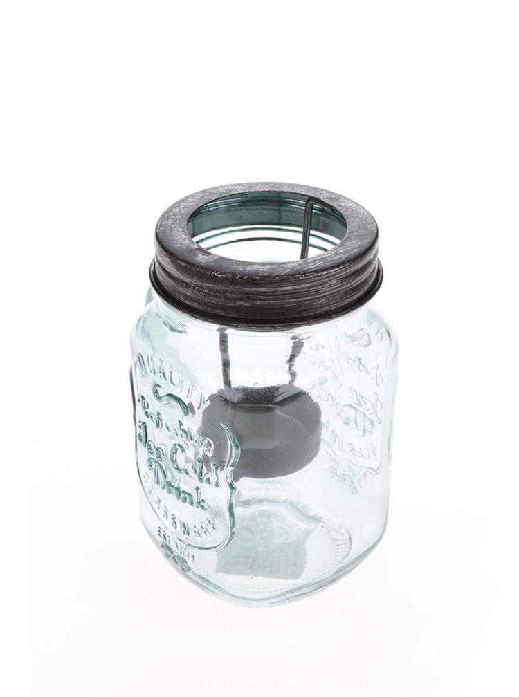 Suport lumanare Dakls sticla verde