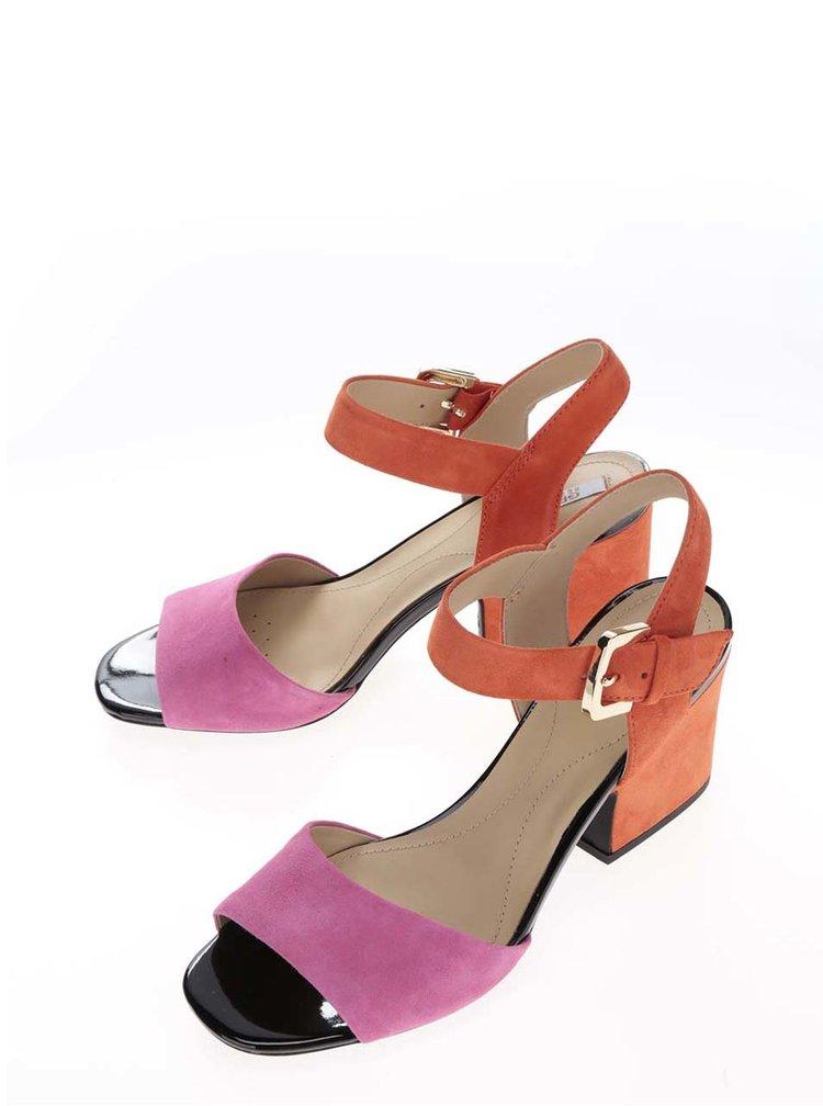 Růžovo-oranžové semišové sandálky na širokém podpatku Geox Marilyse