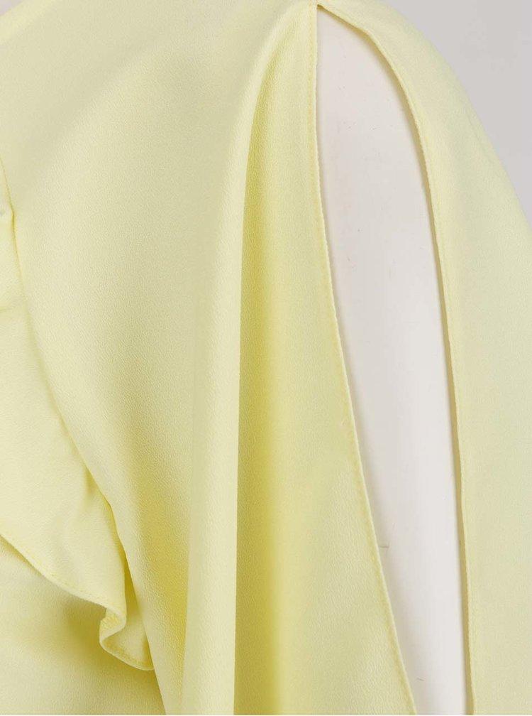 Světle žlutá krátká halenka s volány Miss Selfridge