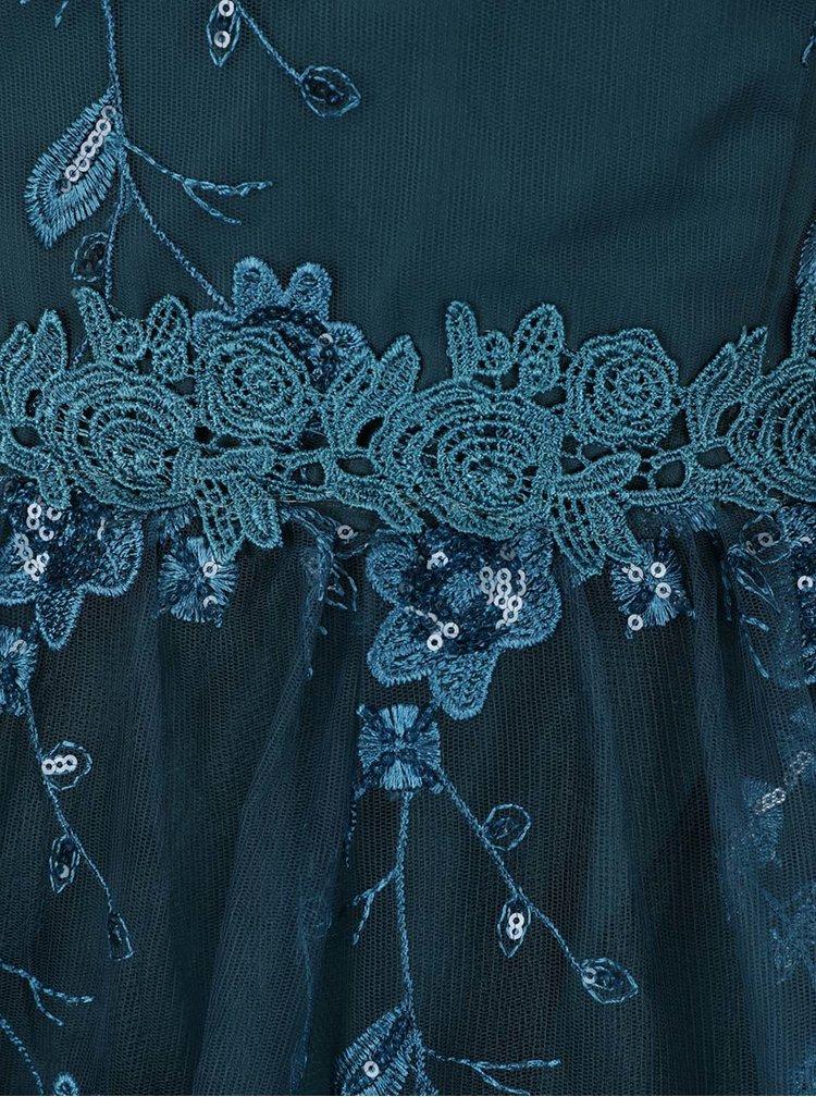 Zelené šaty na ramínka s flitrovanými detaily Little Mistress