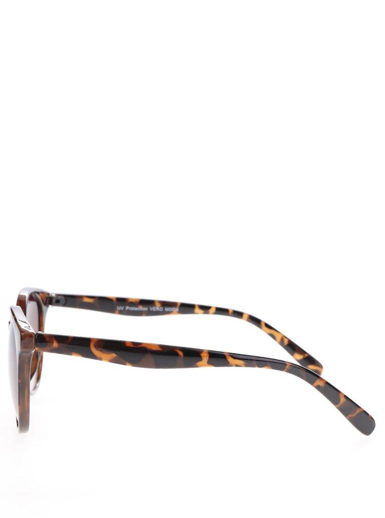 Hnědé vzorované sluneční brýle VERO MODA Love