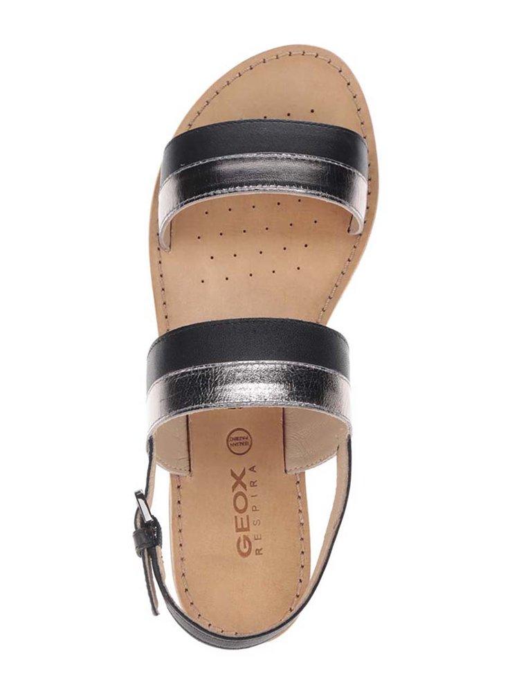 Sandale negre cu detalii argintii Geox Sozy din piele naturală