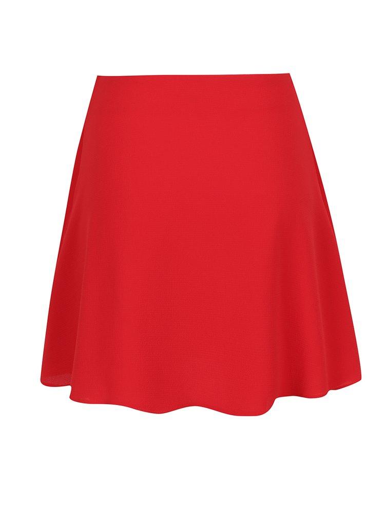 Červená sukně s volány a uzlem Miss Selfridge