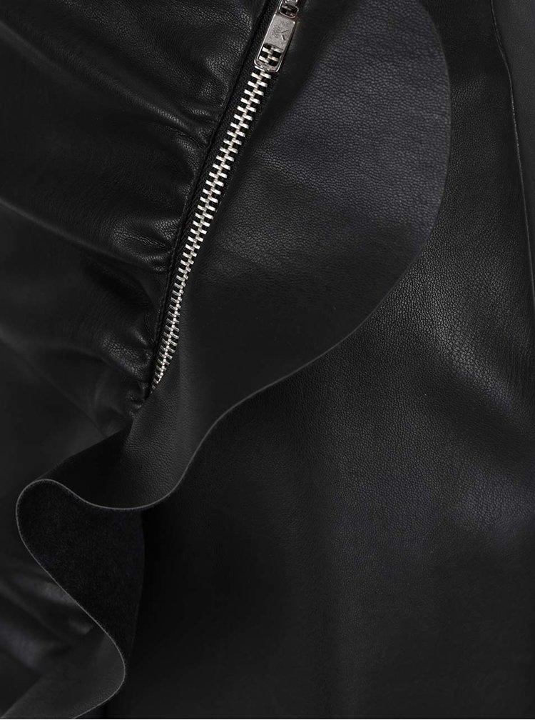 Černá koženková sukně se zipem a volánem Miss Selfridge