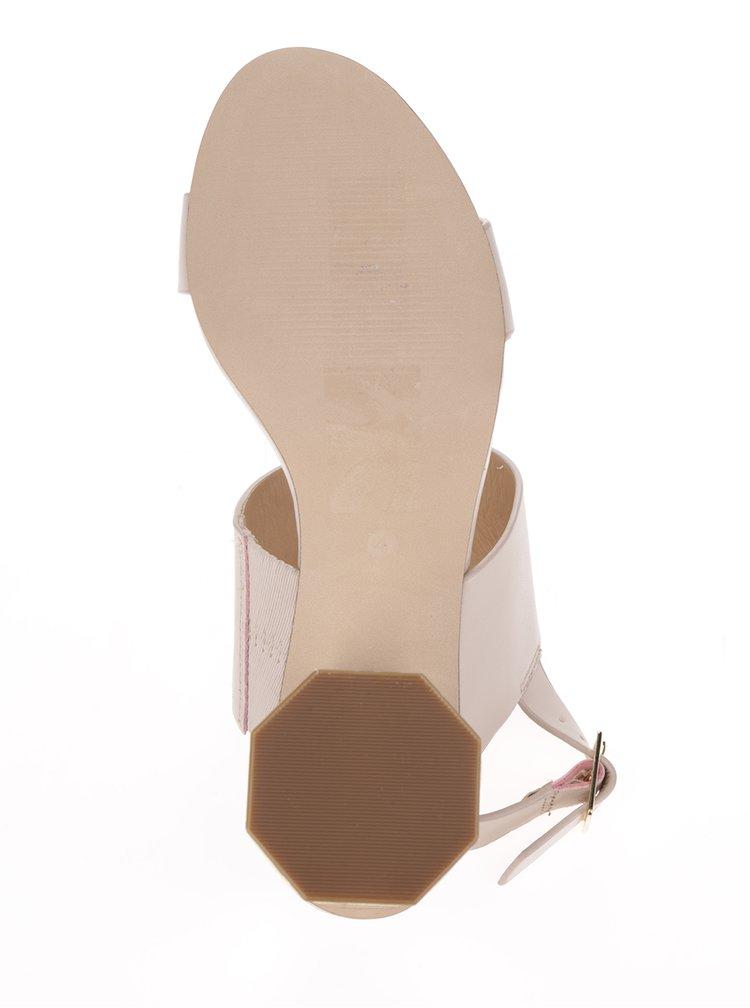 Sandale bej Miss Selfridge cu toc auriu hexagonal