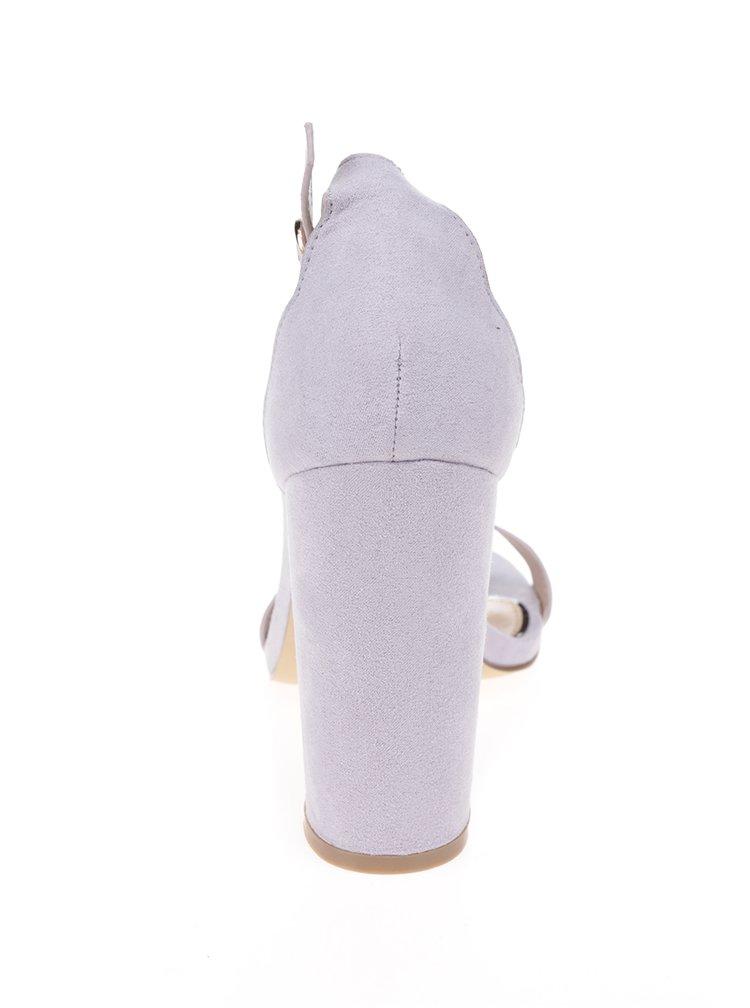 Světle fialové sandálky v semišové úpravě na podpatku Miss Selfridge