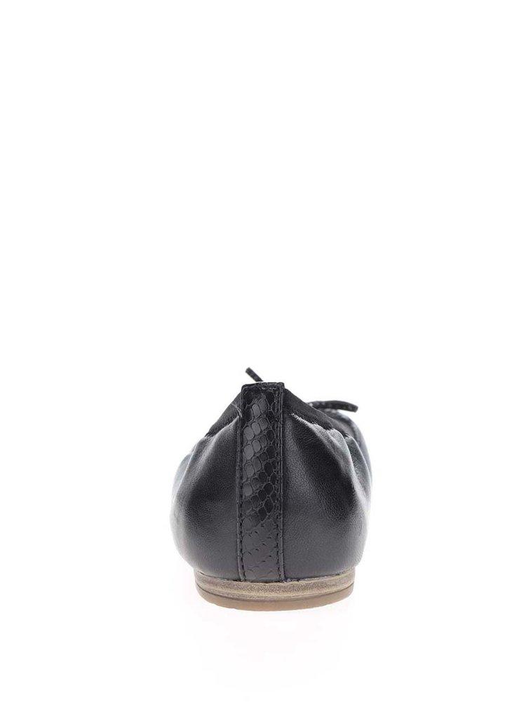 Černé kožené baleríny se vzorovanou špičkou Tamaris