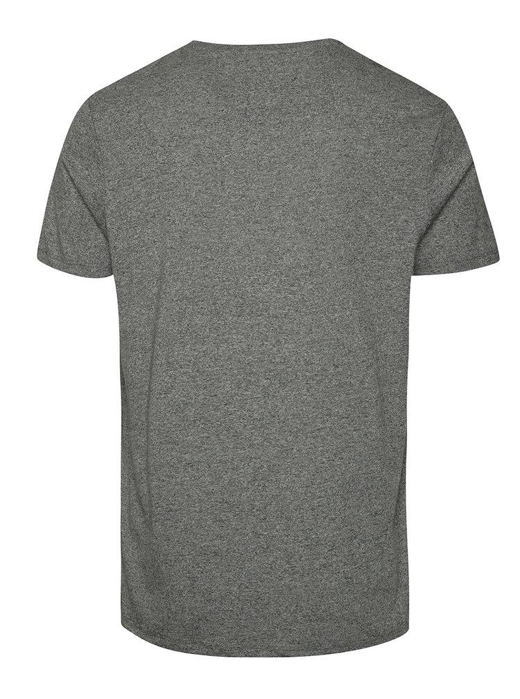 Tricou gri melanj cu print Burton Menswear London
