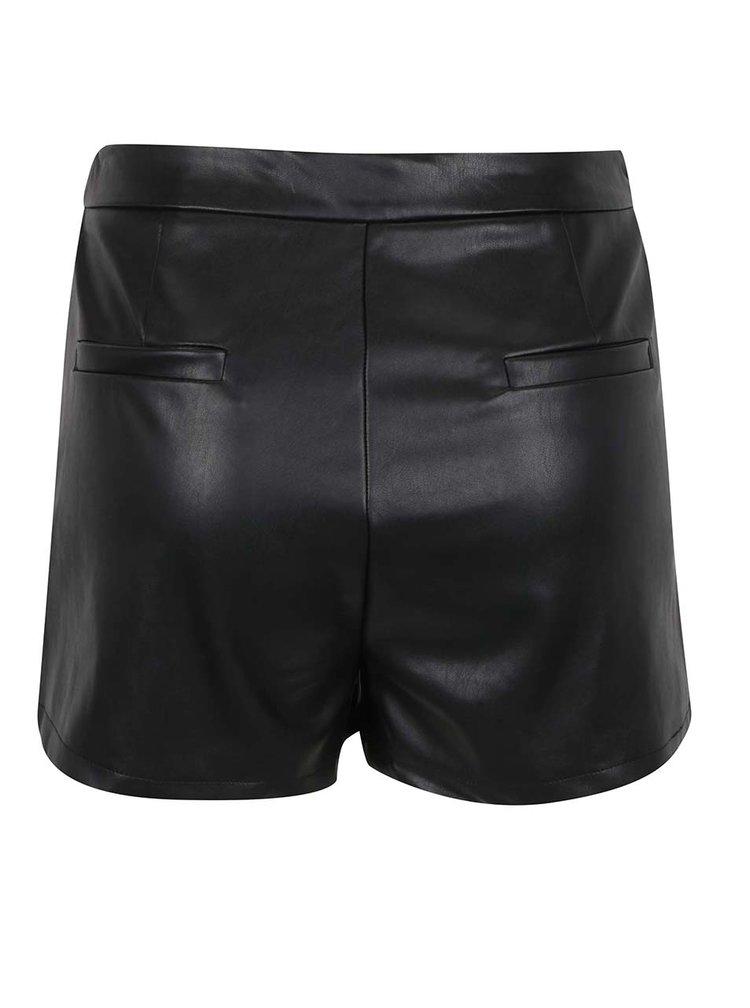 Pantaloni scurti negri TALLY WEiJL din piele sintetica