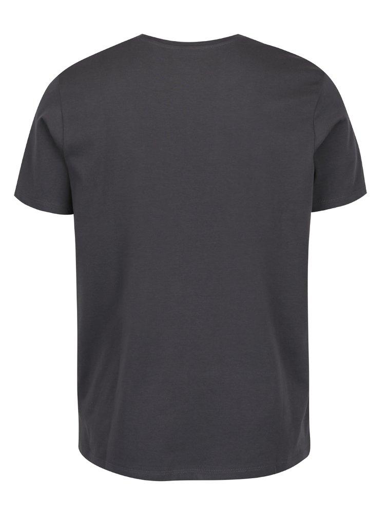 Tmavě šedé triko s maskáčovým potiskem Jack & Jones Samuel