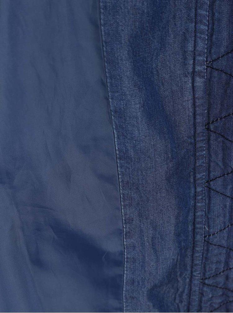 Jacheta parka Gina Laura albastra cu aspect din denim