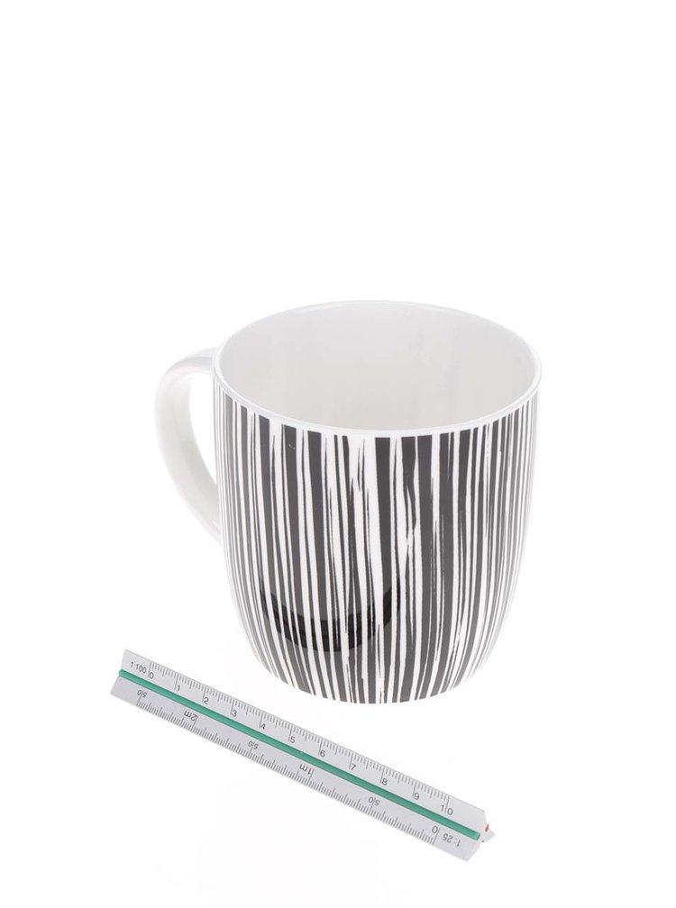Černo-bílý porcelánový pruhovaný hrnek Kitchen Craft