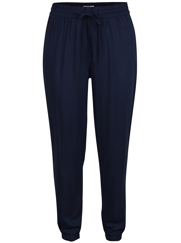 Pantaloni albastru închis TALLY WEiJL cu talie elastică
