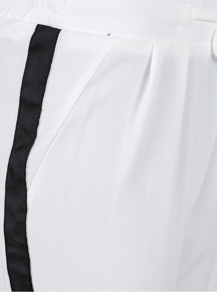 Krémové kalhoty s černým pruhem na bocích TALLY WEiJL