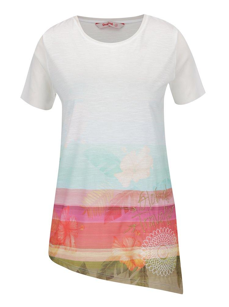 Růžovo-bílé asymetrické tričko Desigual Asimetric Polynesia