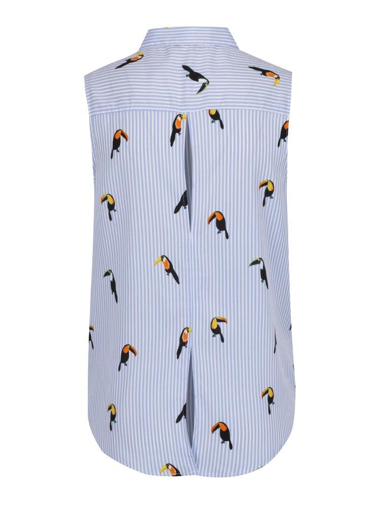 Modro-bílá pruhovaná halenka s motivem tukanů TALLY WEiJL