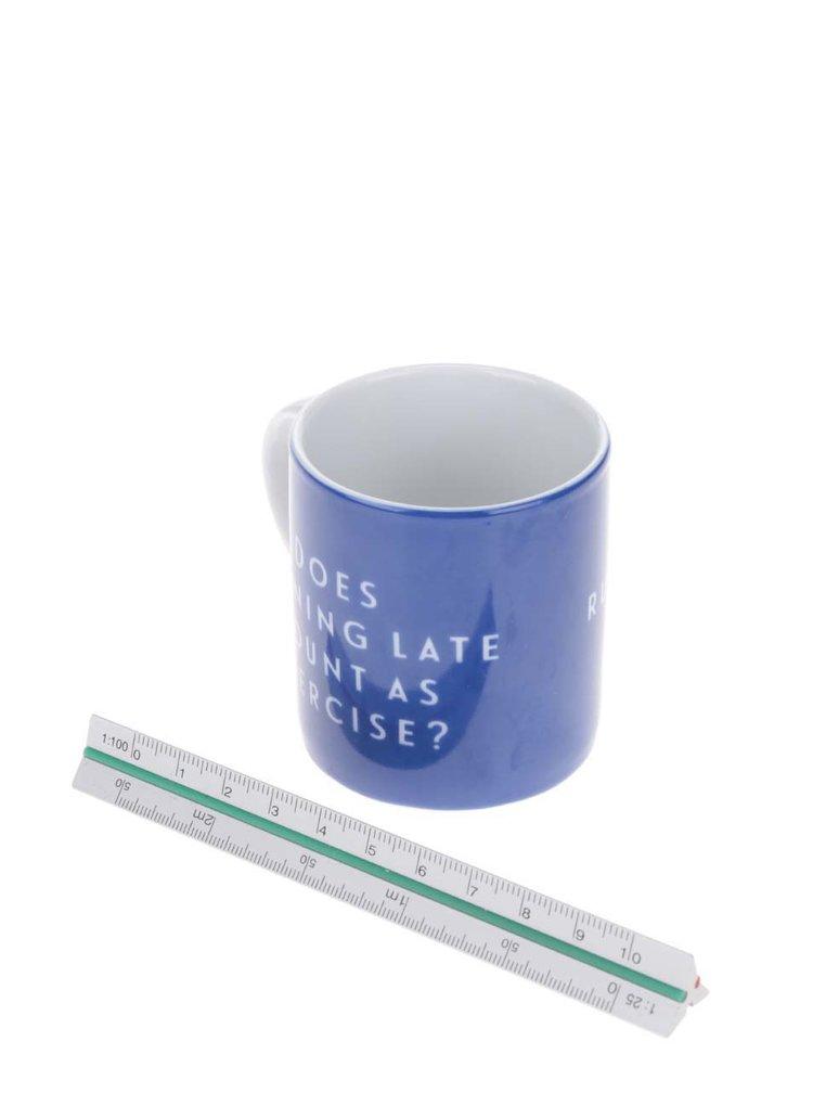 Modrý porcelánový hrnek na espresso s potiskem Kitchen Craft