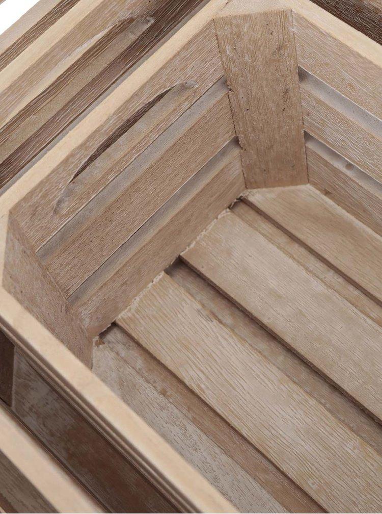 Sada tří světle hnědých dřevěných beden s potiskem Kitchen Craft