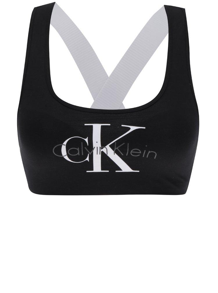 Černá sportovní podprsenka s bílými pásky na zádech Calvin Klein