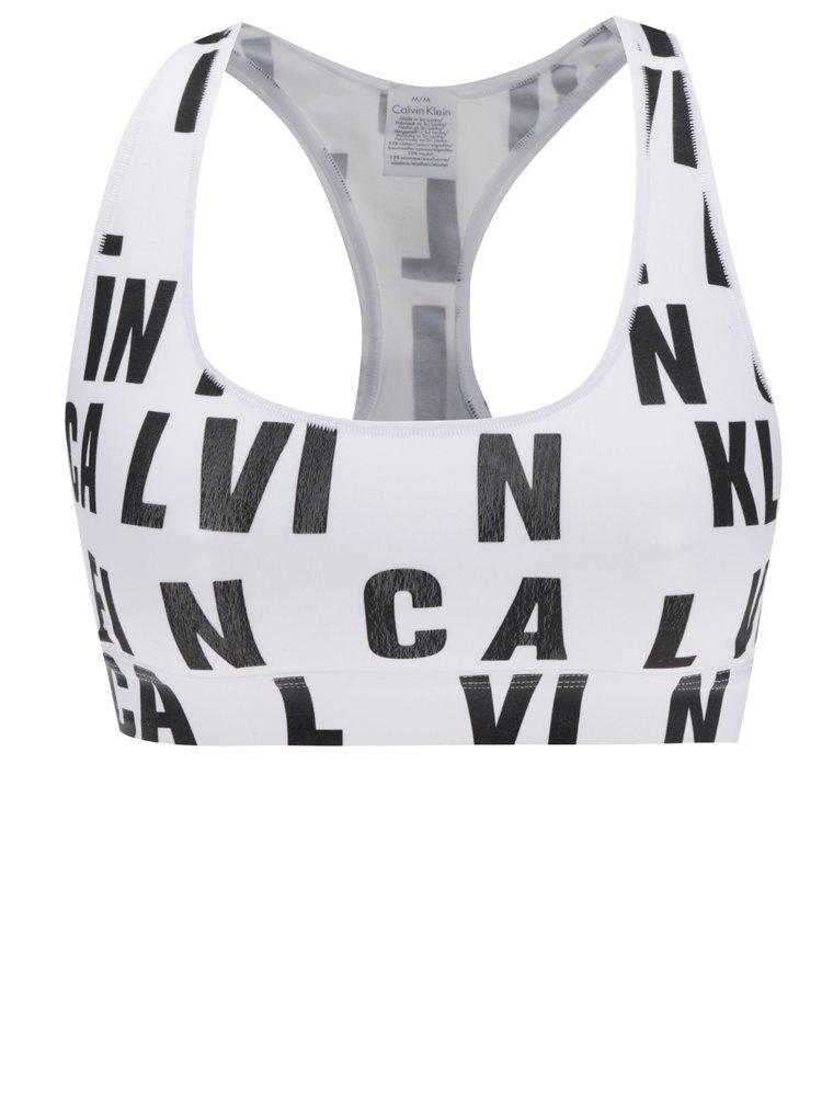 Bustiera alba cu print logo Calvin Klein