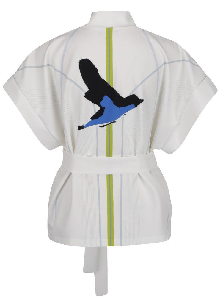 Kimono alb Laura Dumitrescu Bold Sparrow cu print pe partea din spate