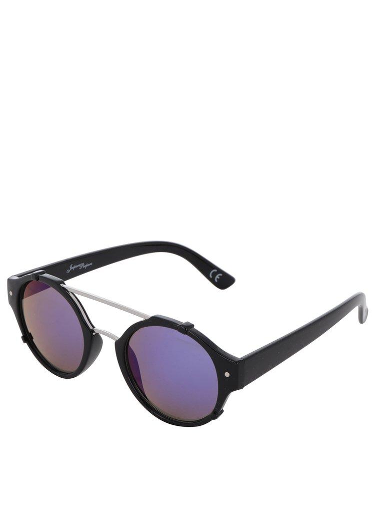 Ochelari de soare negri Jeepers Peepers cu lentile albastre