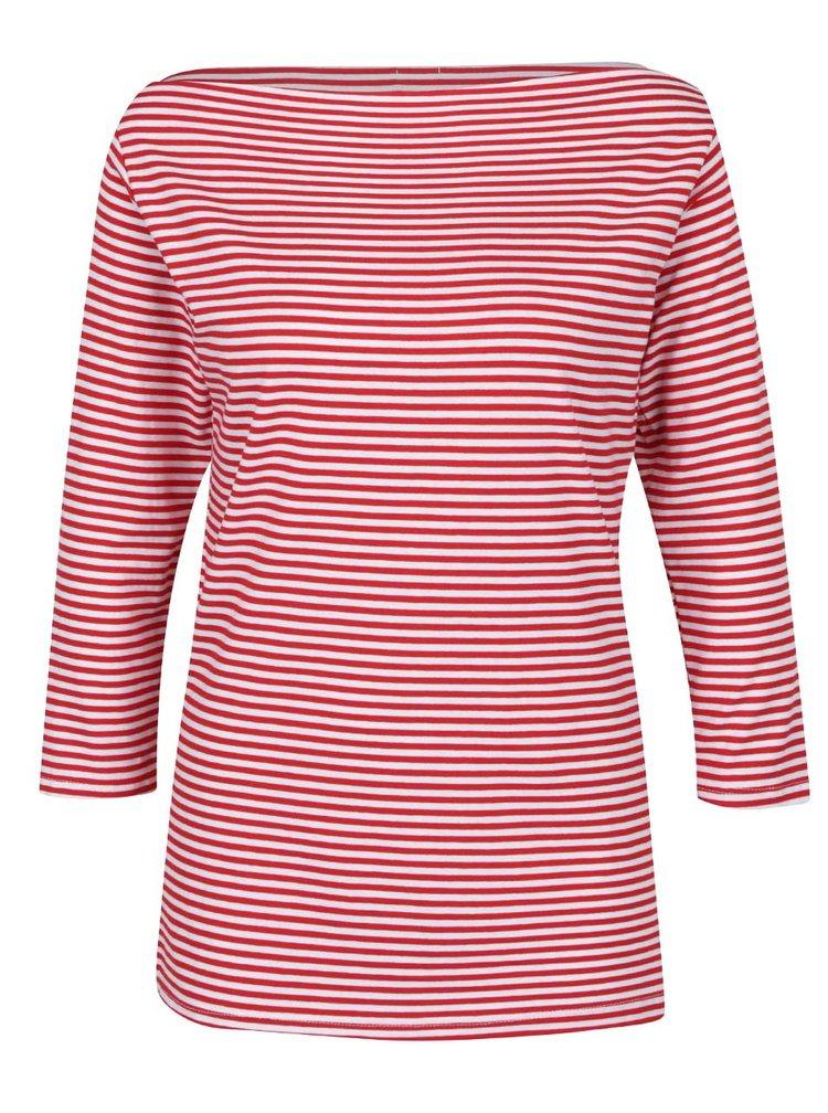 Bílo-červené pruhované tričko s lodičkovým výstřihem ZOOT