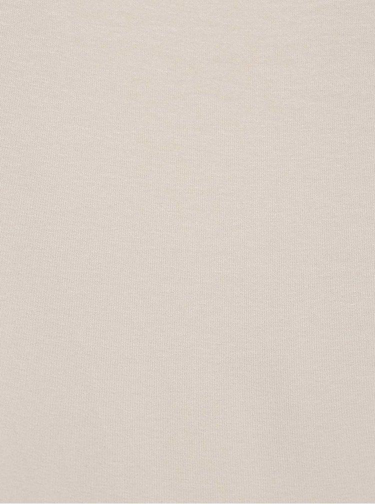 Béžové tričko s pásky v dekoltu a 3/4 rukávem ZOOT