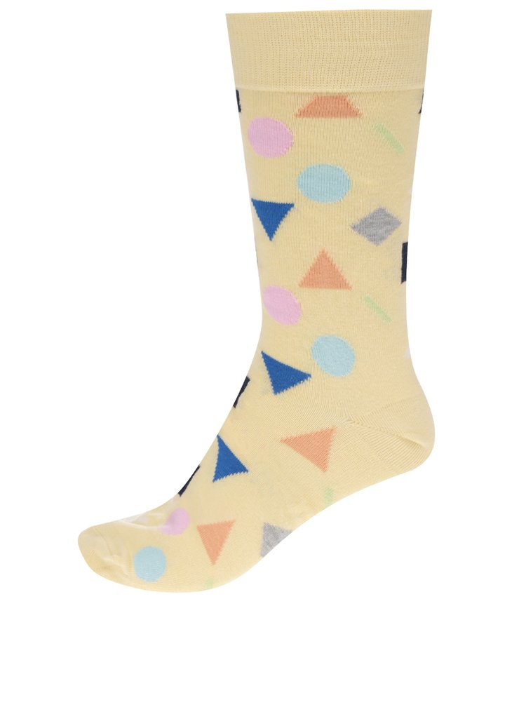 Șosete galbene cu model geometric Happy Socks