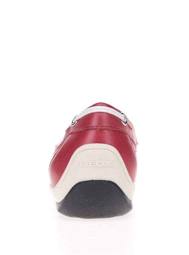 Červené dámské kožené mokasíny Geox Yuki